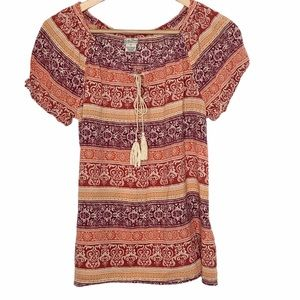 Lucky Brand Tasseled Aztec Knit Peasant Top Size M